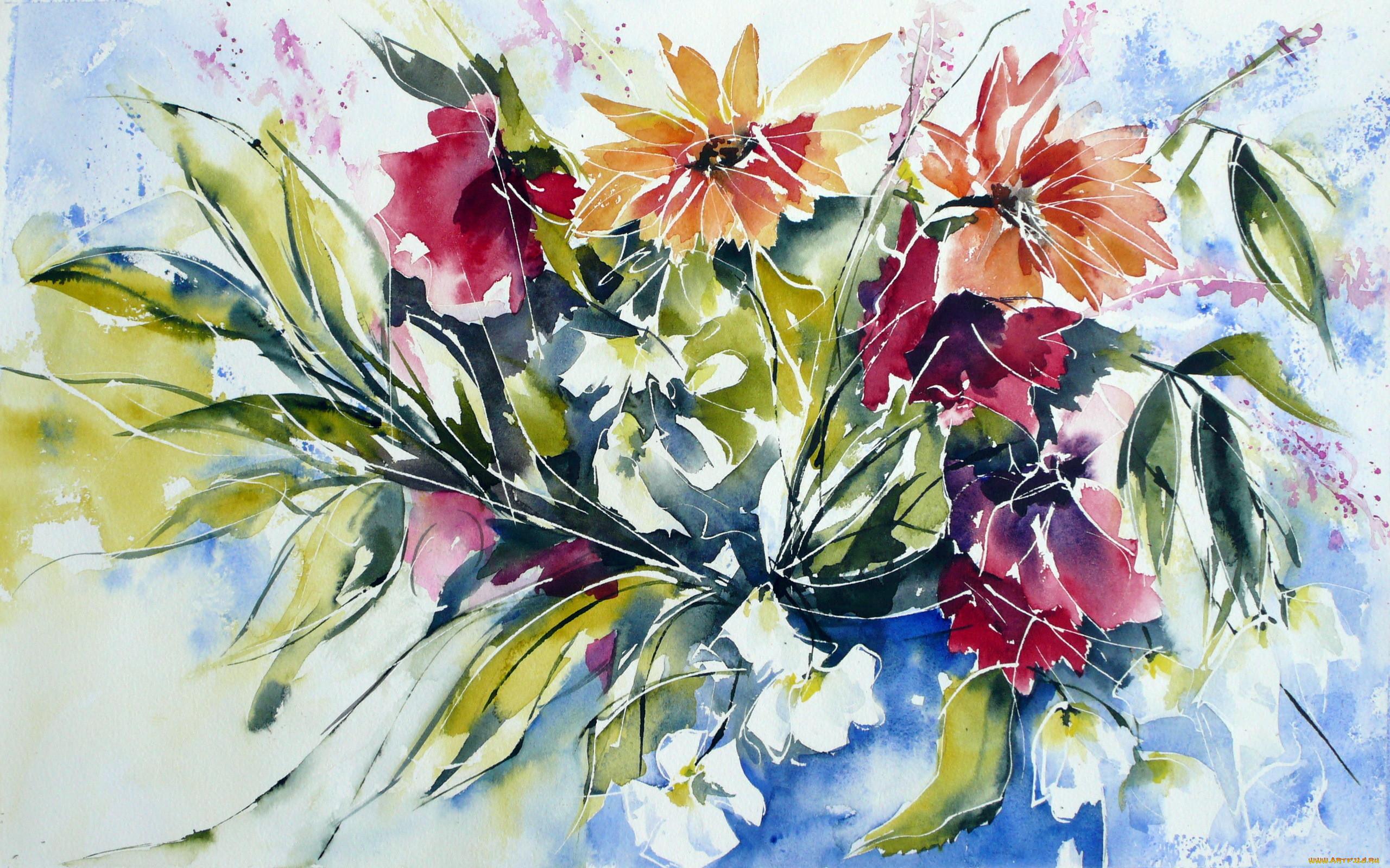 Рисованное цветы обои для рабочего